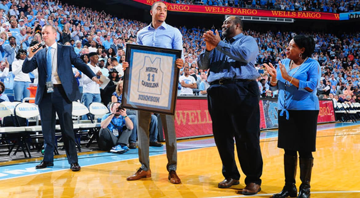 Johnson Honored At UNC As Frustrating Rookie Year Starts Looking Up