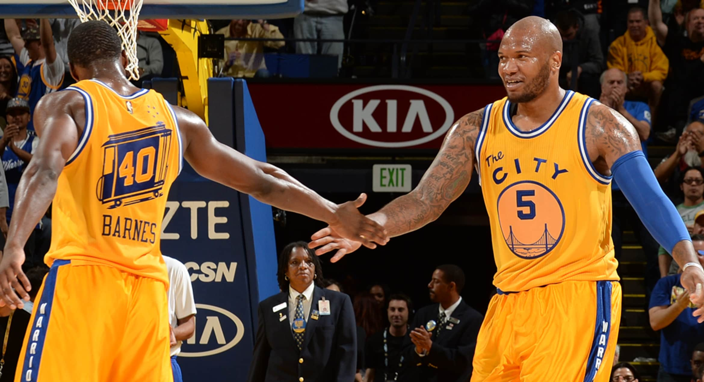 Marreese Speights and Harrison Barnes