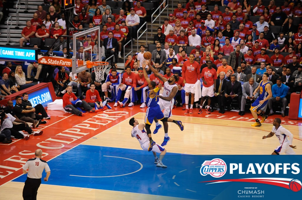 In Game Action Clippers Vs Warriors Game 1 Presented By Chumash Casino Resort Los Angeles Clippers