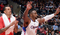 "Image of Glen ""Big Baby"" Davis cheering for the Clippers from the bench - Article: Notes: Baby's Presence; Barnes' Health, Fine; Wilcox On Return"