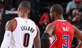 Image of Chris Paul and Damian Lillard during halftime - Article: Clippers Return Home To See Trail Blazers