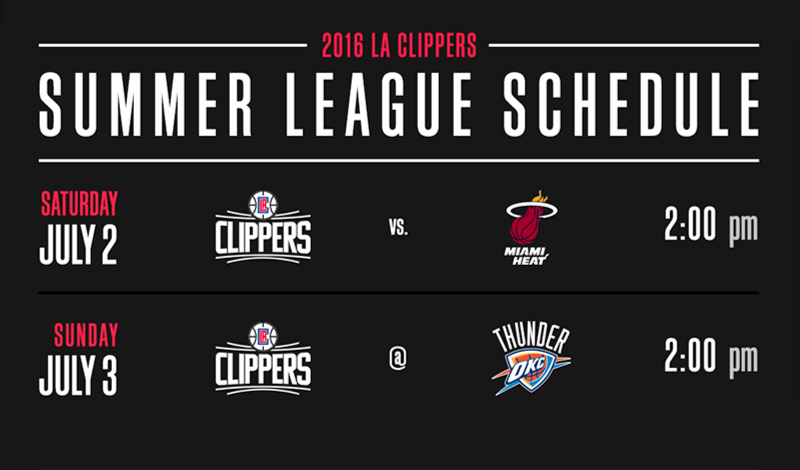 Image of Summer League Schedule  First Two Games | LA Clippers