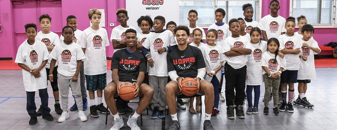 Clippers Rookies Play Math Hoops