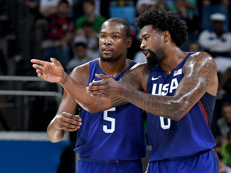 Image of DeAndre Jordan conversing on the court with Kevin Durant during 2016 Rio Olympics