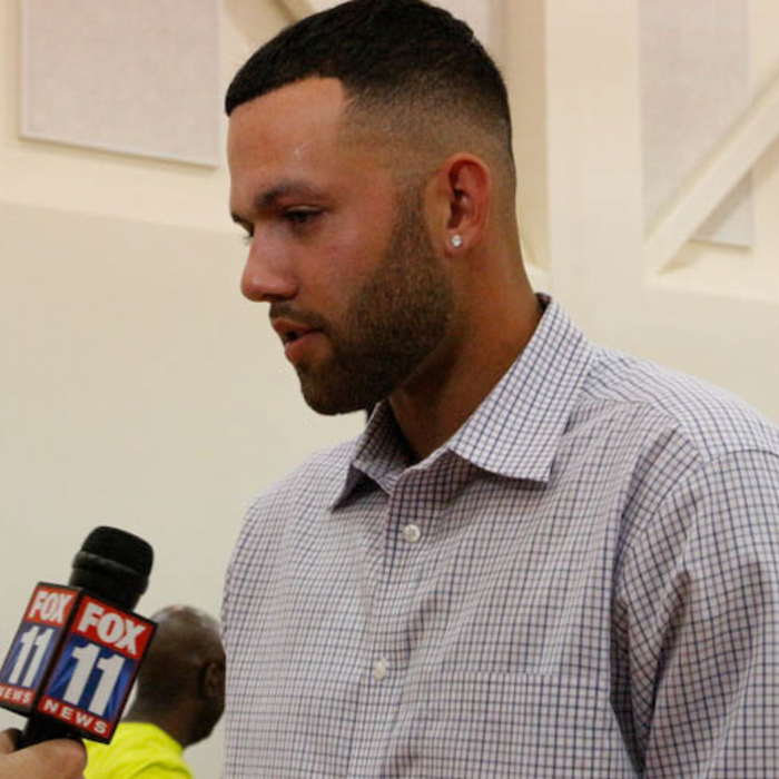 Jordan Farmar and Spencer Hawes are introduced at the Clippers' Training Center on July 10, 2014.
