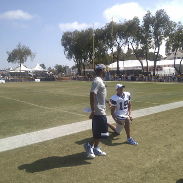 Photo of Chris Paul at Cowboys Training Camp with Miles Austin