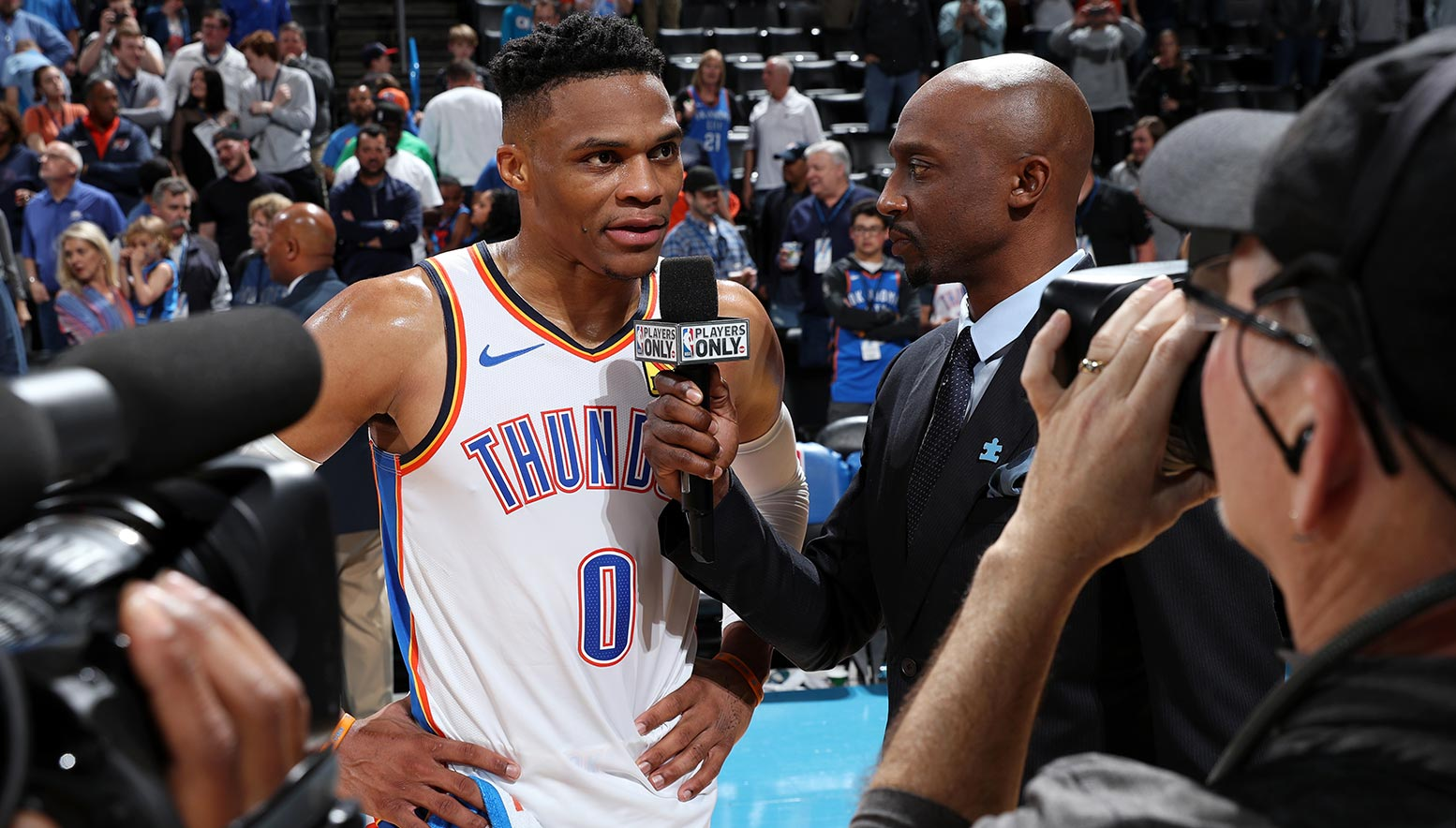 Russell Westbrook speaks with Jason Terry after the game against the Los Angeles Lakers in which he joined NBA Legend Wilt Chamberlain as the 2nd player in NBA History to attain a record of 20/20/20
