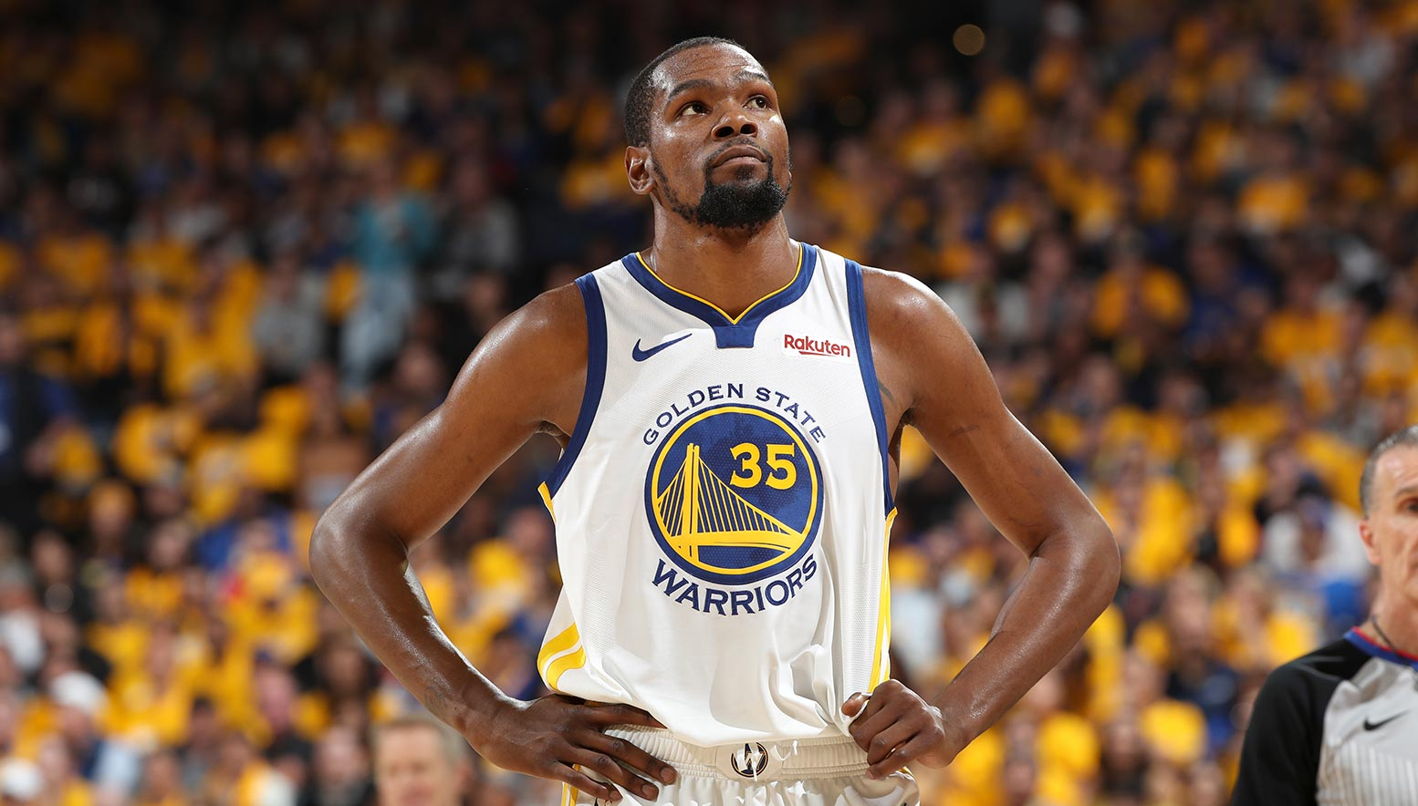 Kevin Durant looks on