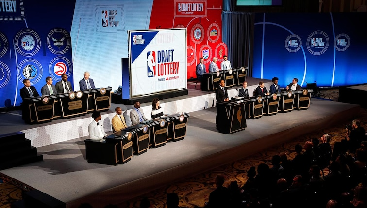 NBA Deputy Commissioner, Mark Tatum makes an announcement during the 2018 NBA Draft Lottery at the Palmer House Hotel on May 15, 2018 in Chicago, IL.
