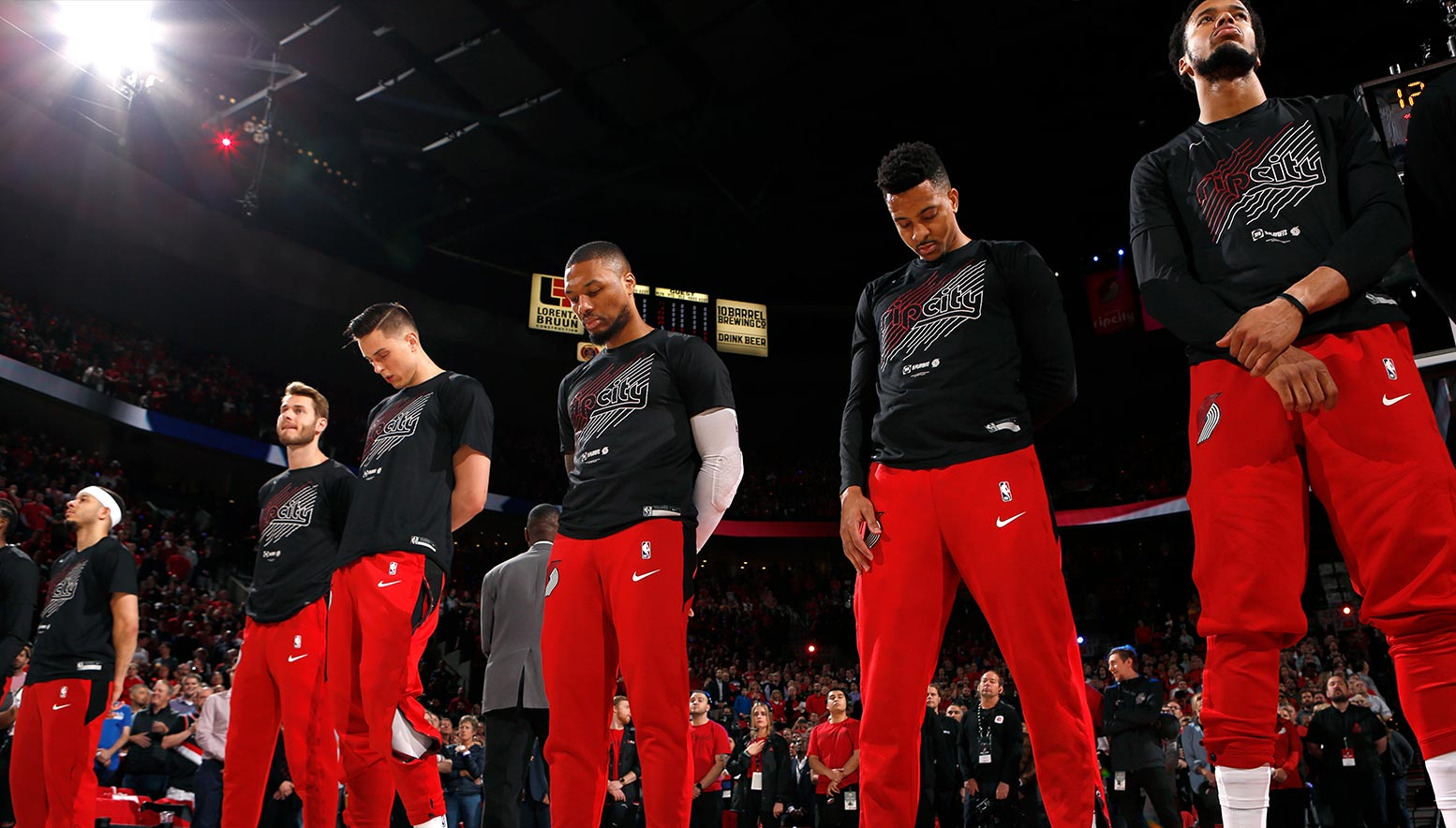 Portland Trail Blazers stand for the National Anthem