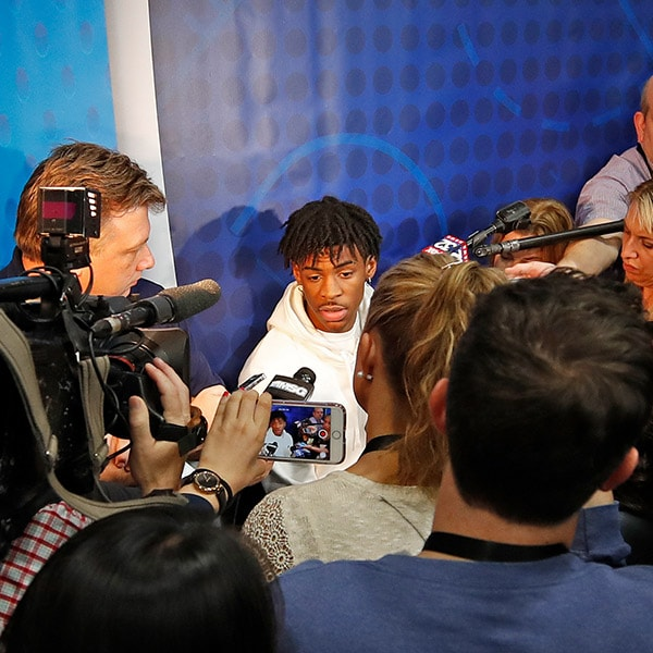 Ja Morant answers questions from the media