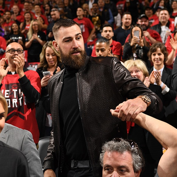 Jonas Valanciunas attends Game One of Round One of the 2019 NBA Playoffs