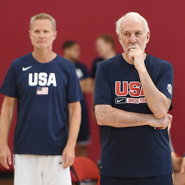 Gregg Popovich and Steve Kerr at Team USA practice