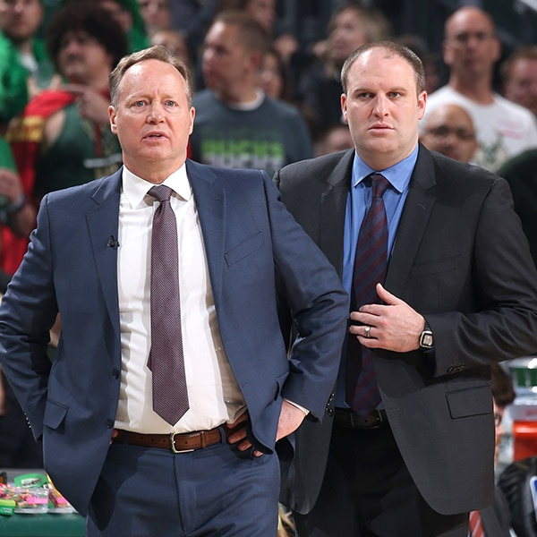 Head Coach Mike Budenholzer and Assistant Coach Taylor Jenkins