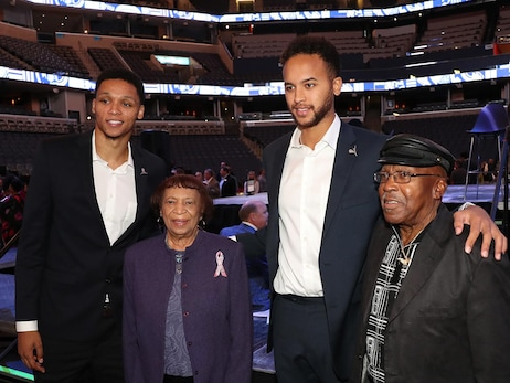 Kyle Anderson and Ivan Rabb pose for a photo at 2018 Tip-Off Luncheon