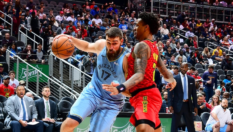 Jonas Valanciunas #17 of the Memphis Grizzlies drives to the basket against the Atlanta Hawks on March 13, 2019 at State Farm Arena in Atlanta, Georgia.