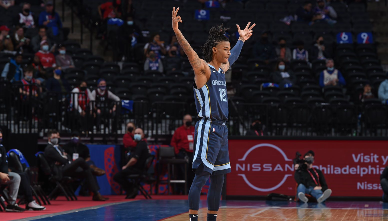 Ja Morant posing during a game