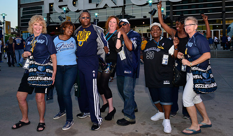 Fans wearing Grizzlies gear