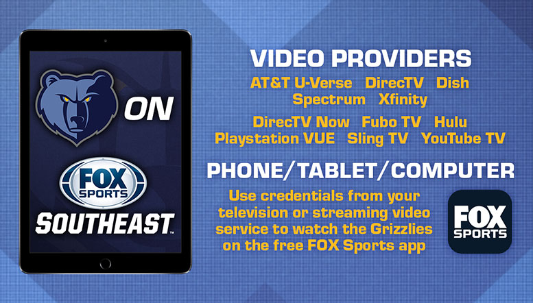Grizzlies Broadcast Channel Listings | Memphis Grizzlies