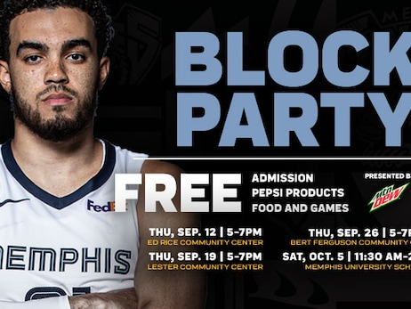 Grizzlies guard Tyus Jones to make special appearance at Grizzlies Block Party presented by Mountain Dew Thursday, September 19 at 5:30 p.m.