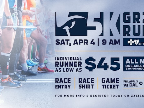 Memphis Grizzlies annual Grizzlies 5K presented by BlueCross BlueShield of Tennessee set for Saturday, April 4