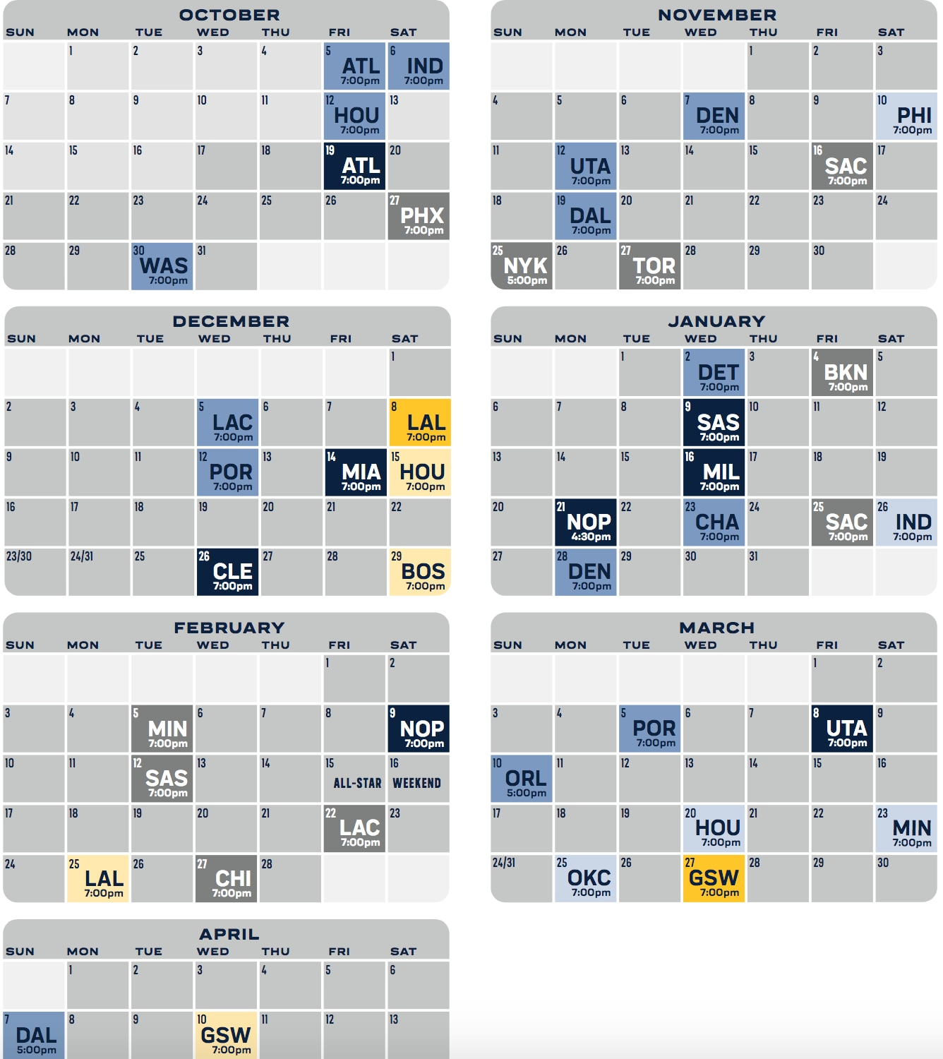 2018/19 Grizzlies Group Tickets Calendar