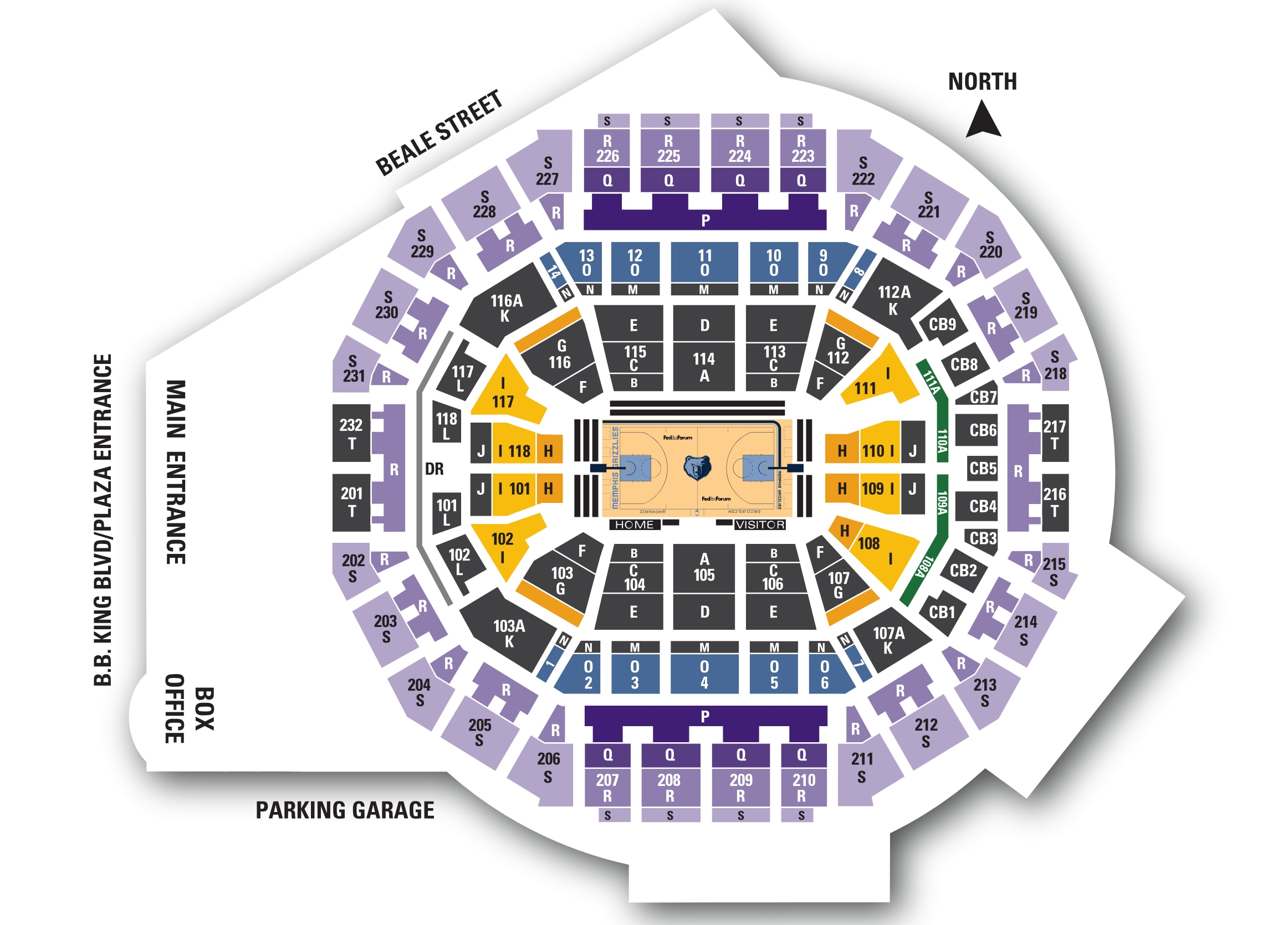 2018/19 Grizzlies Group Tickets map