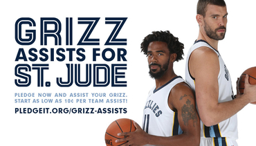 "Memphis Grizzlies tip-off hoops for St. Jude with ""Grizz Assists for St. Jude"" campaign and in-arena activations"
