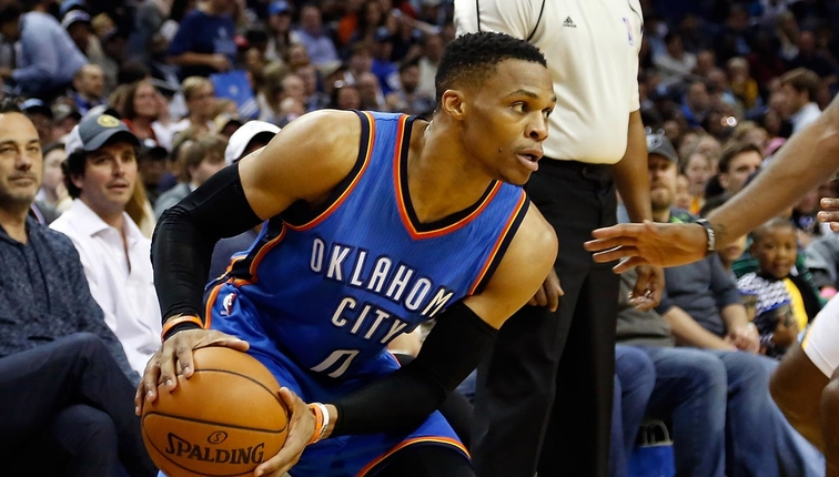 Russell Westbrook #0 of the Oklahoma City Thunder plays against the Memphis Grizzlies during a 103-100 Thunder victory at FedExForum on April 5, 2017 in Memphis, Tennessee