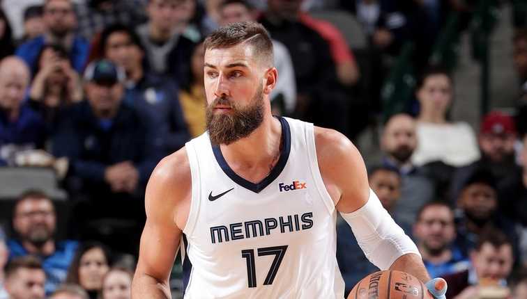 Jonas Valanciunas #17 of the Memphis Grizzlies handles the ball during the game against the Dallas Mavericks on March 2, 2019 at the American Airlines Center in Dallas, Texas