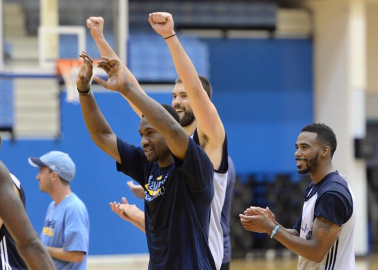 Tony Allen, Marc Gasol and Mike Conley at the first day of Training Camp.
