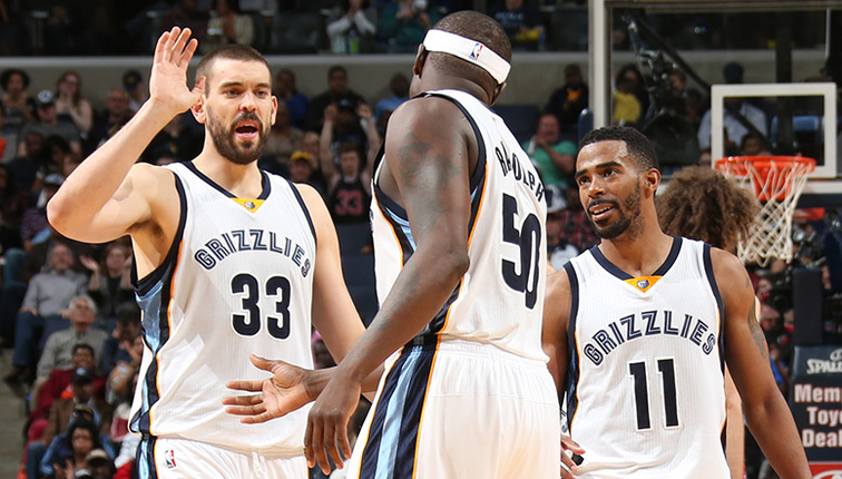 Marc Gasol, Zach Randolph, and Mike Conley celebrate