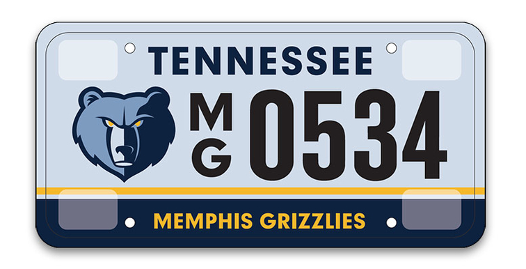 memphis grizzlies tennessee state specialty license plate | memphis