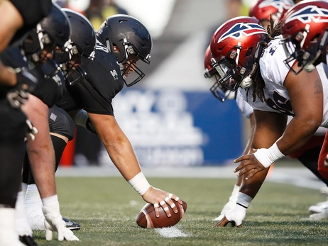 Birmingham Iron and the Memphis Express line of scrimmage