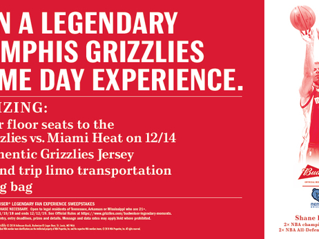 Memphis Grizzlies launch Legendary Memphis Grizzlies Game Day Experience contest courtesy of Budweiser