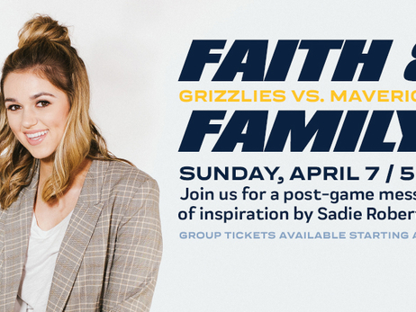 Memphis Grizzlies annual Faith and Family Night to feature postgame message from Sadie Robertson on Sunday, April 7