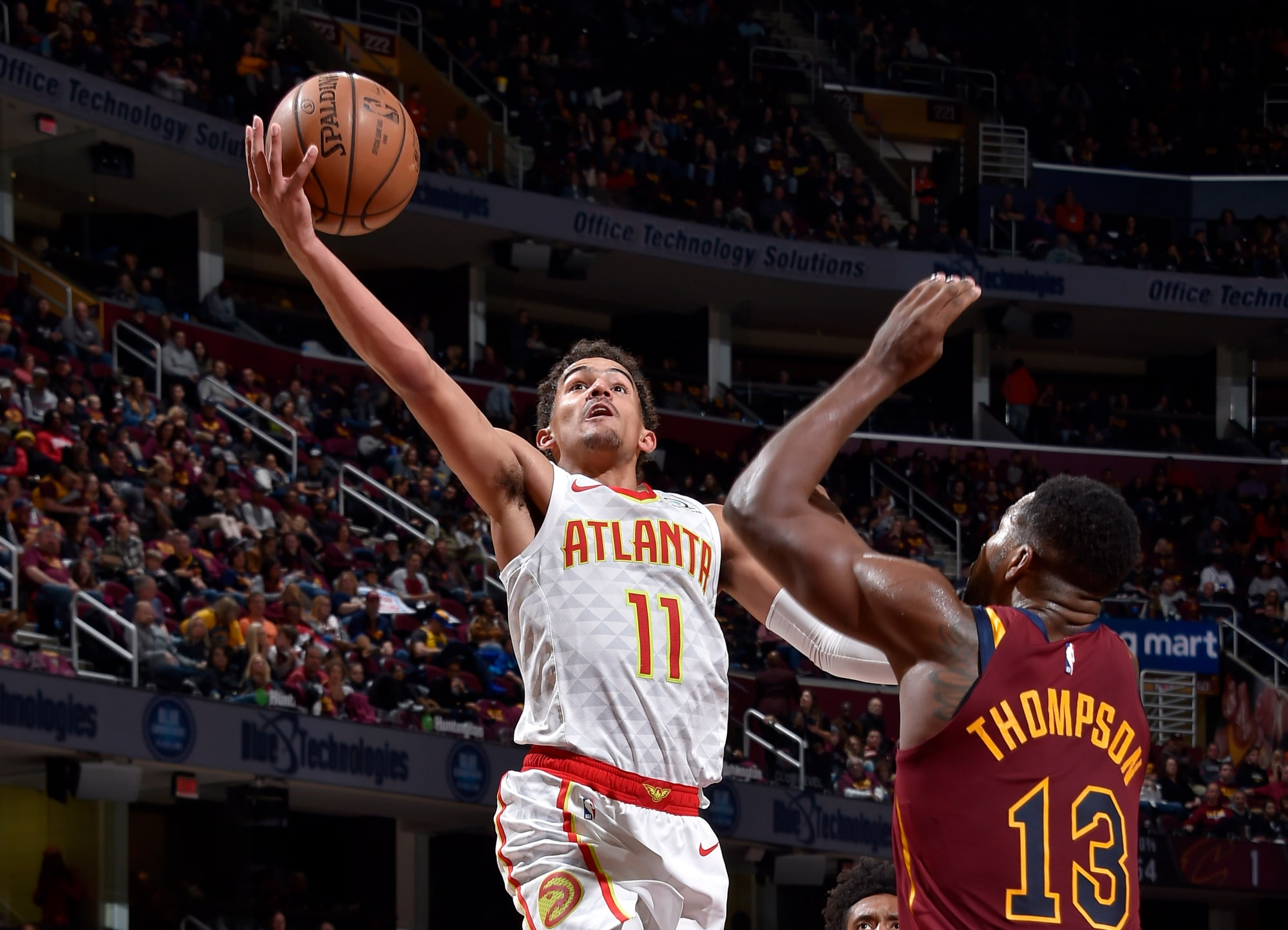 Trae Young scored 35 points and handed out 11 assists in the Hawks win. (David Liam Kyle/NBAE/Getty Images)