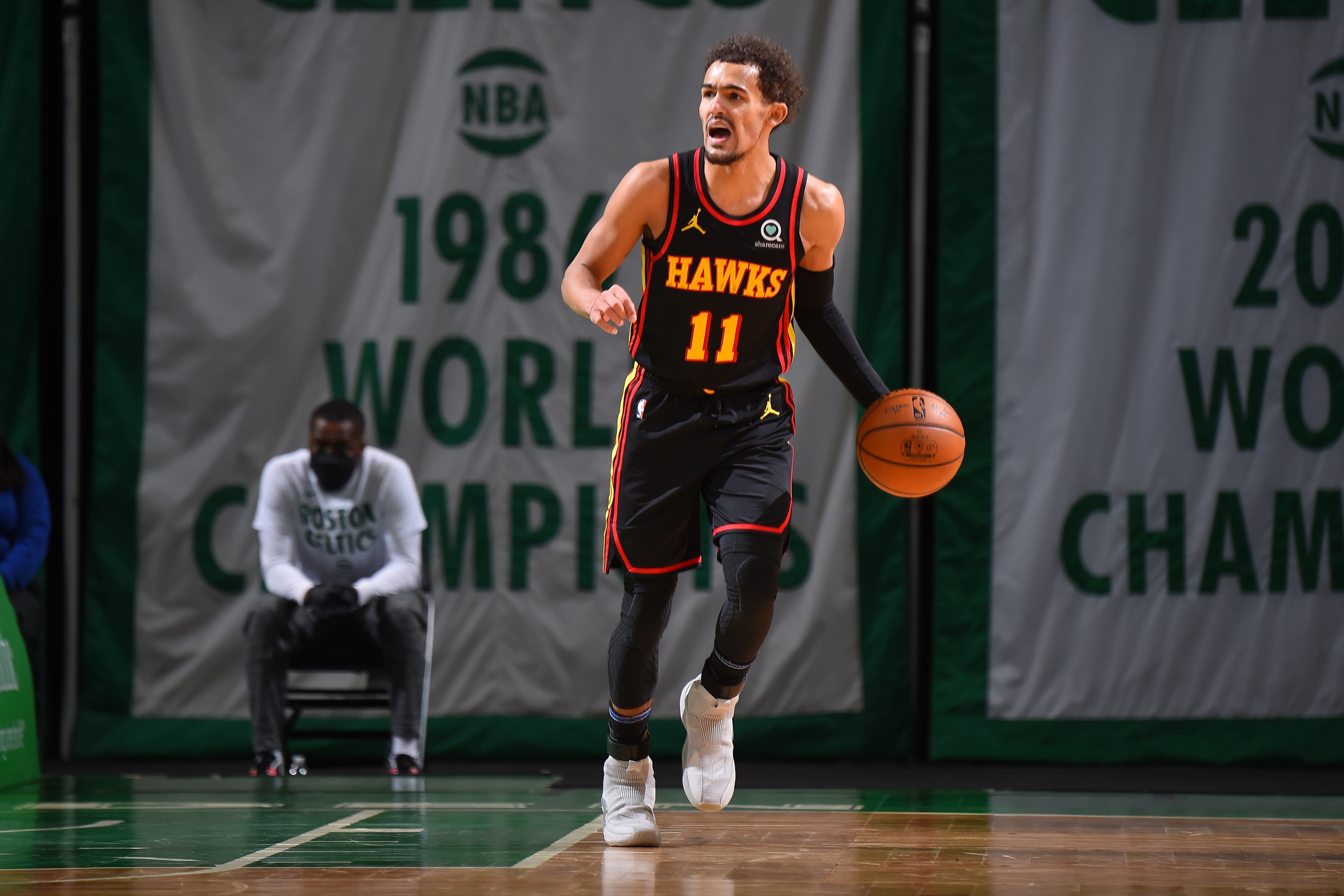 Trae led the way with 40 points and 8 assists.(Brian Babineau/NBAE via Getty Images)