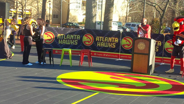 Locals Flood To Grant Park For Latest Hawks Court Unveiling