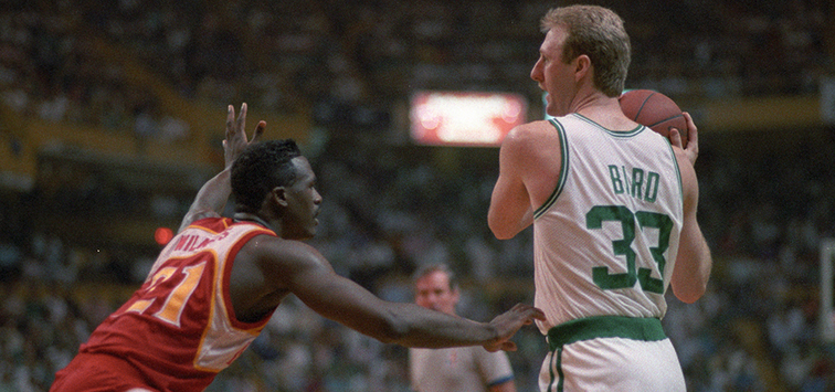 Dominique Wilkins and Larry Bird