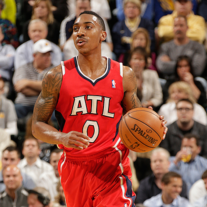 Jeff Teague dribbles down the court in Indy, finishing the night with 16 points.
