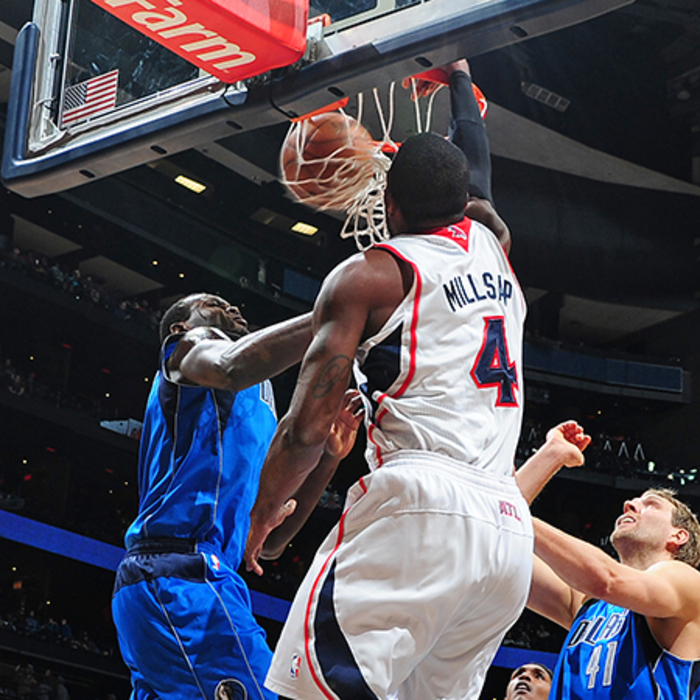 Paul Millsap's dunk brought the crowd at Philips Arena to it's feet.