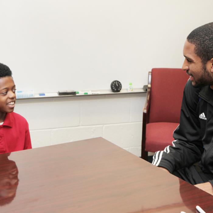 Horford Visits Winner of Bully Essay Contest