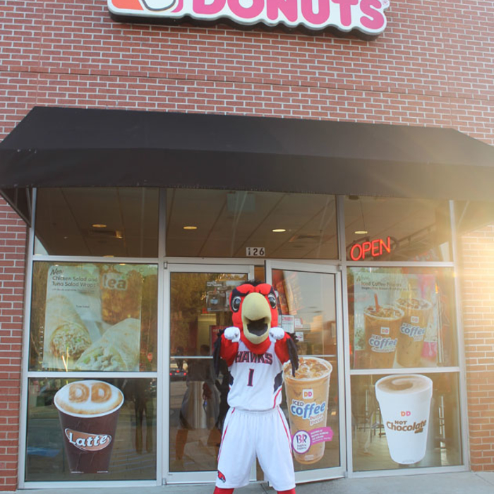 Harry the Hawk visits Dunkin' Donuts