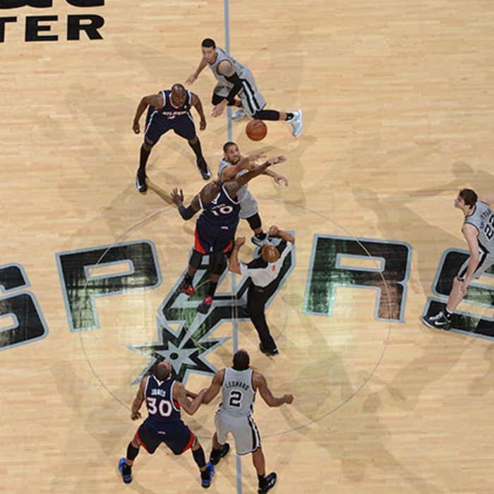 The Spurs and Hawks tip things off at the AT&T Center.