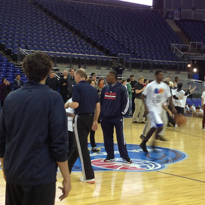 The Hawks participated in an NBA Cares event with youth in London.
