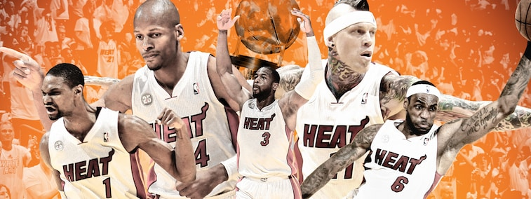 Chris Bosh, Ray Allen, Dwyane Wade, Chris Andersen, LeBron James