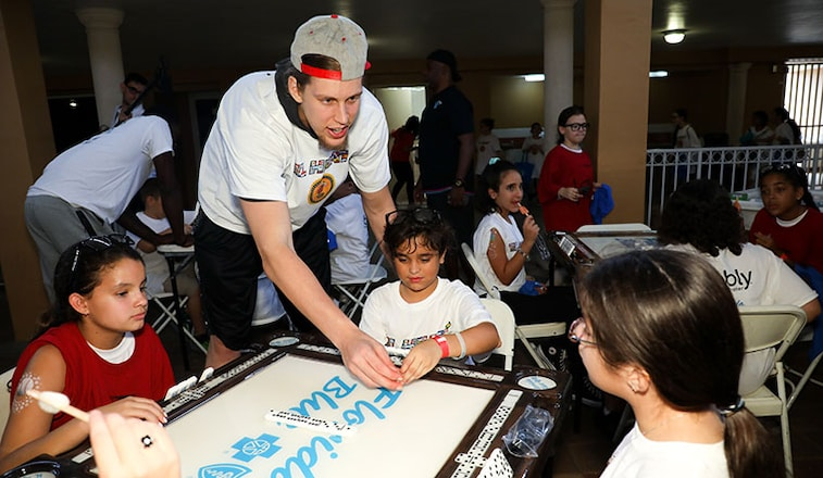Kelly Olynyk at the HEAT Hispanic Heritage Event