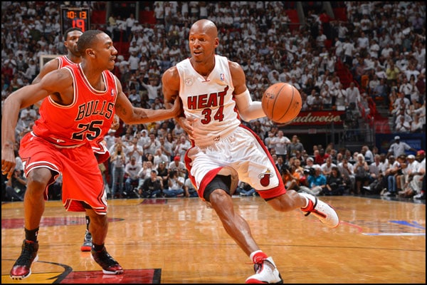 Ray Allen drives to the basket against Marquis Teague of the Chicago Bulls