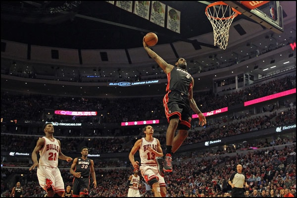 LeBron James goes up for a dunk